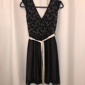 Black lace dress with nude tie